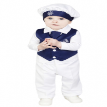 Boys Navy Blue/White  Anchor 5pce Satin Christening Suit